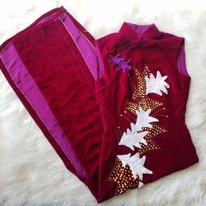 Vintage 90's Fuschia Pink Asian Style Velvet Dress